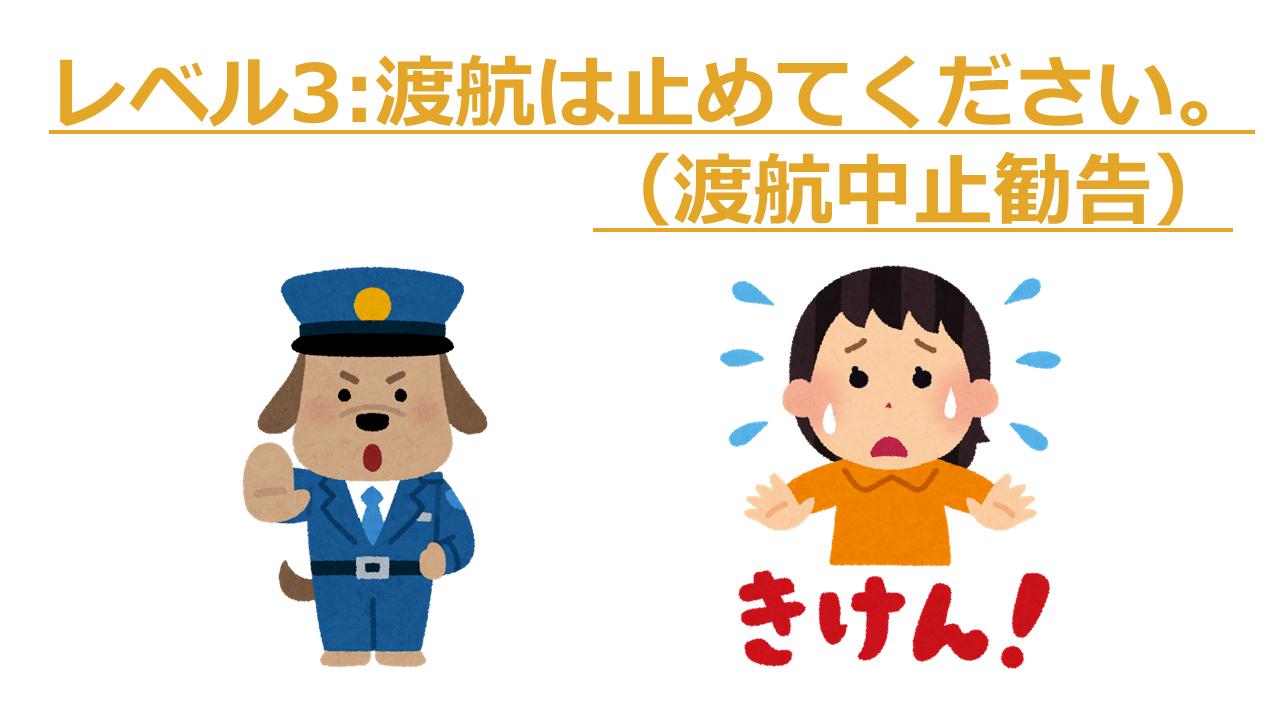 レベル3:渡航は止めてください。(渡航中止勧告)